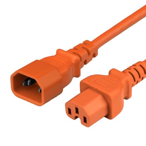 5FT C15 C14 15A 250V 14/3 SJT ORANGE Power Cord