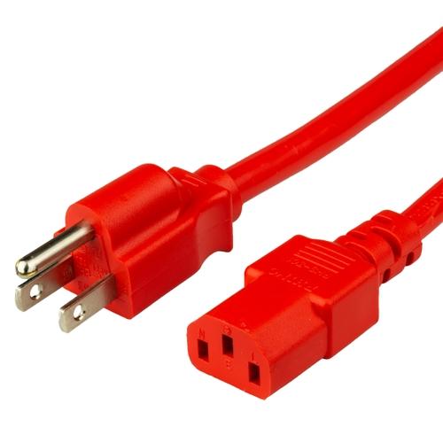 8FT Nema 5-15P to IEC 60320 C13 15A 125V - Red
