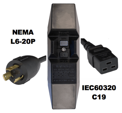 15FT NEMA L6-20P to Manual Reset In-Line GFCI to IEC60320 C19 20A 240V Power Cord - BLACK